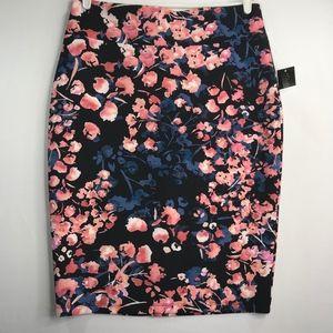 Pink and Blue Floral Black Scuba Pencil Skirt XL